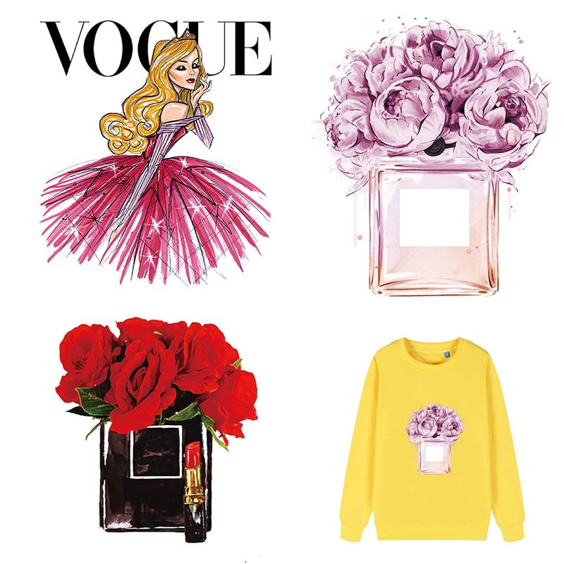Schöne Blume Flasche Patch Wärme Übertragung Aufkleber Für Kleidung Diy Mädchen T-Shirt Patch Applique Auf Kleidung Bügeln Aufkleber