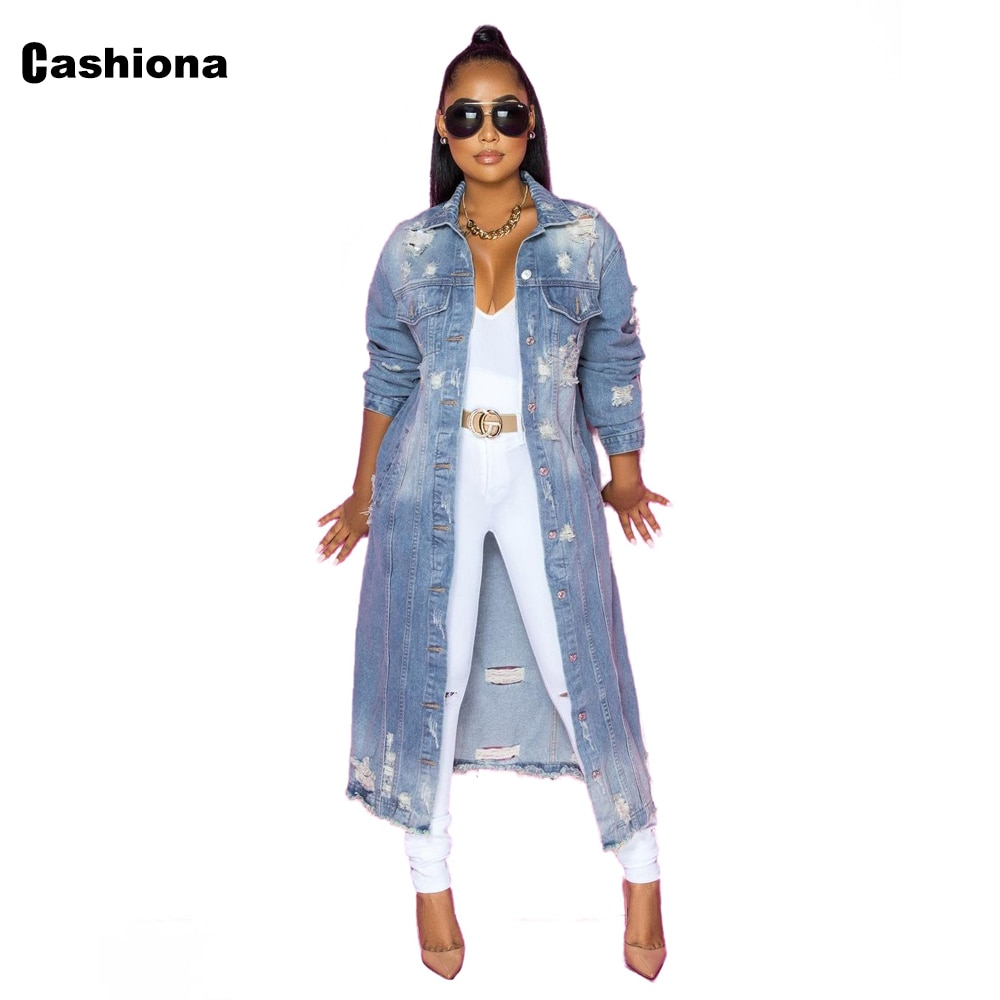 Cashiona 2021 الأوروبية والأمريكية نمط طويل ديمين جاكيتات المرأة تونك ملابس خارجية واحدة الصدر معاطف هول ممزق جان سترة