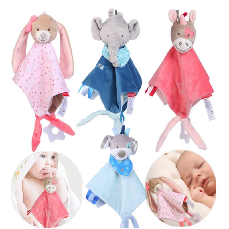 Newborn Baby Towels Rattles Animal Bear/Rabbit Plush Dolls Soft Security Blanket Bed Bells Baby Comfort Saliva Towel Baby Toys
