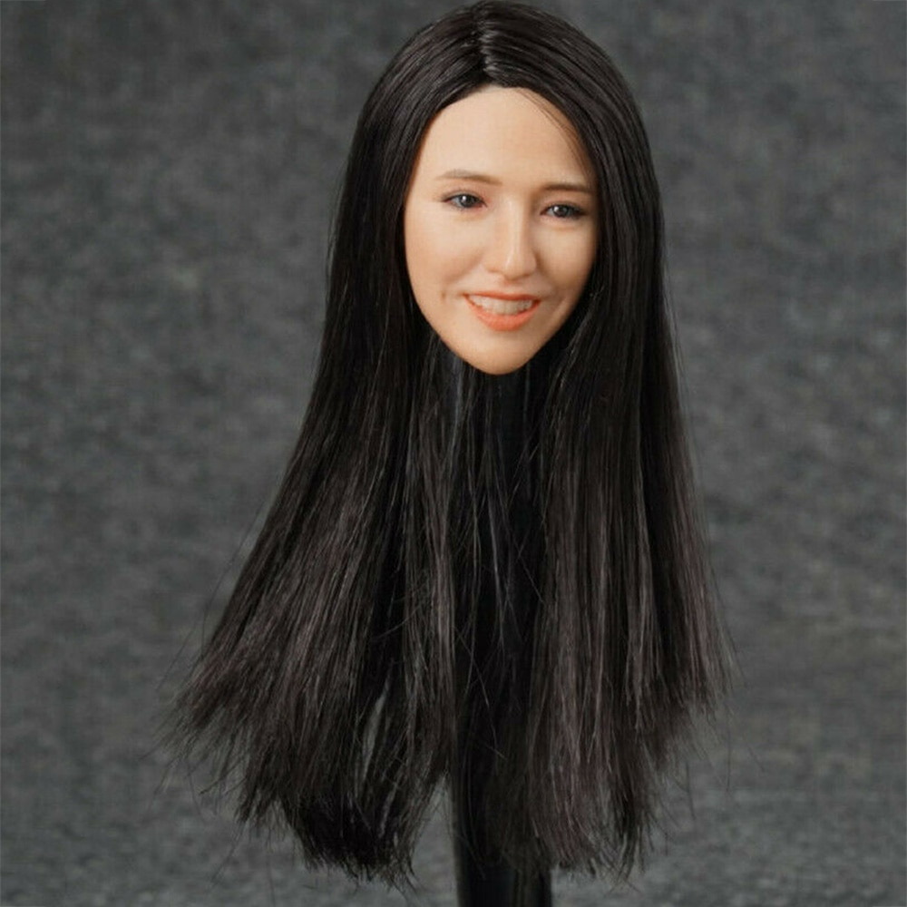 1/6 scale beautiful Asian girl with long hair head carving for 12 inch action figure Female Head Sculpt in stock gc018 1 6 scale beauty european girl head sculpt ivanka trump head carving toy 4 styles for 1 6 female action figure