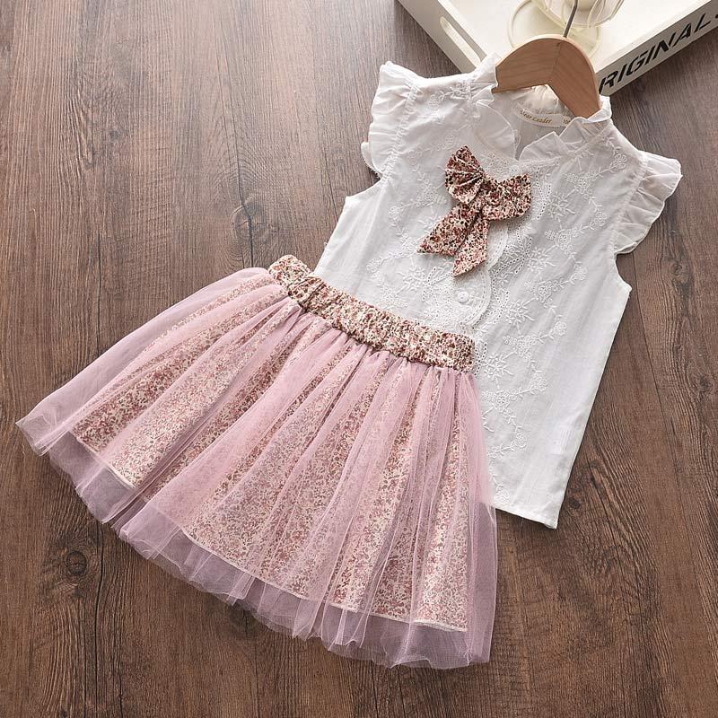 ¡Novedad de 2020! Conjuntos de ropa de verano para niños y niñas de Bear Leader, camiseta y falda Floral de 2 uds., conjuntos de ropa de bebé para niñas de 3 a 7 años