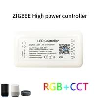 Controleur intelligent de bande lumineuse LED 15a Tuya Zigbee 3 0  rvb DC12-24V   CCT 6 broches  fonctionne avec Alexa Google Home Assistant