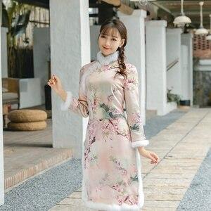 Qipao Traditional Chinese Oriental Dress Women Cheongsam Sexy Modern Chinese Dresses Qi Pao Female Winter Asian Dress FF2509