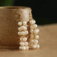 green purple 5 6mm natural fresh water pearl womens drop earrings handmade party gift earrings charm fashion jewelry