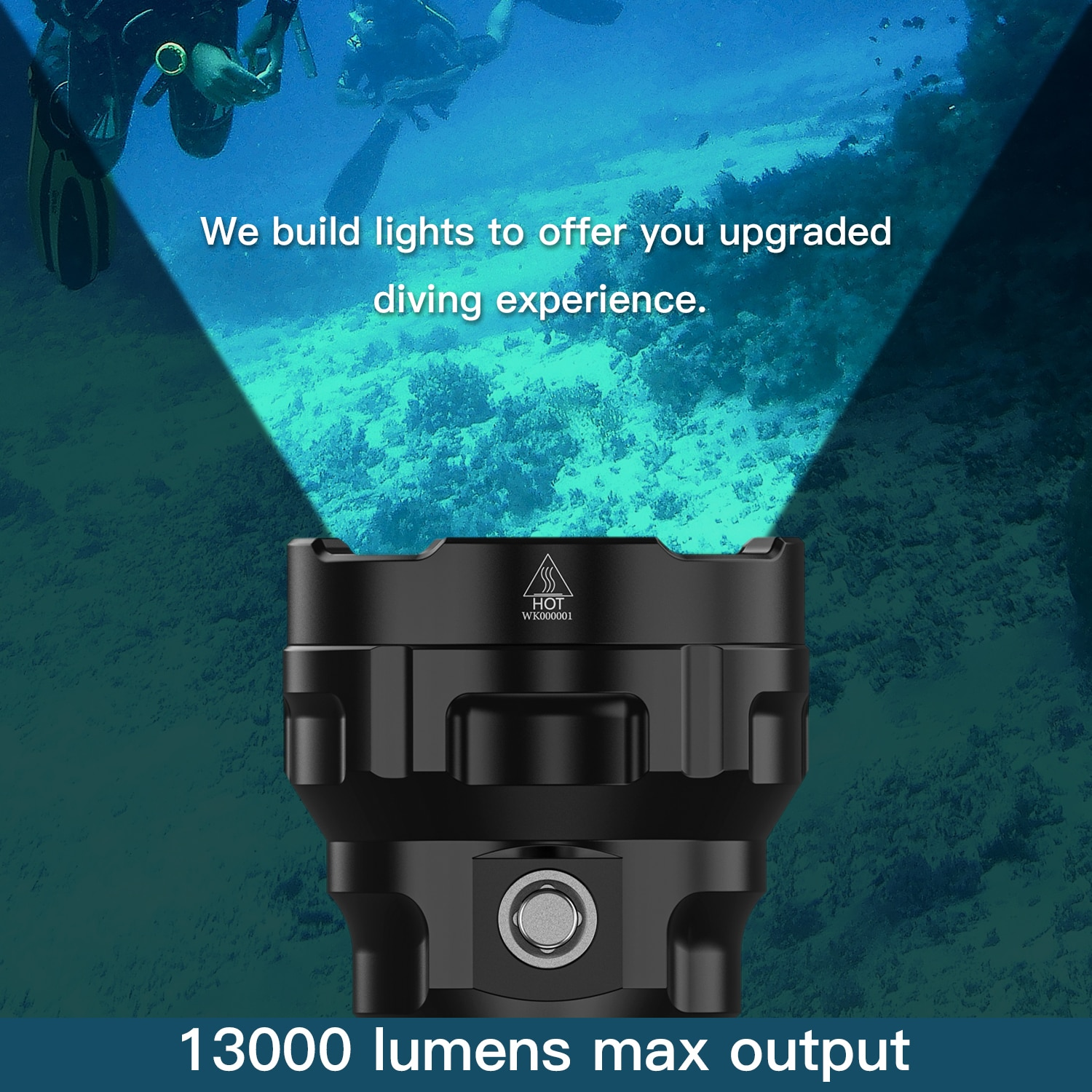 Wurkkos DL70 Scuba Diving Super Bright Double 26650 Battery 13000lm IPX8 Waterproof Underwater Dive LED Light 4*XHP50B 4 Modes enlarge