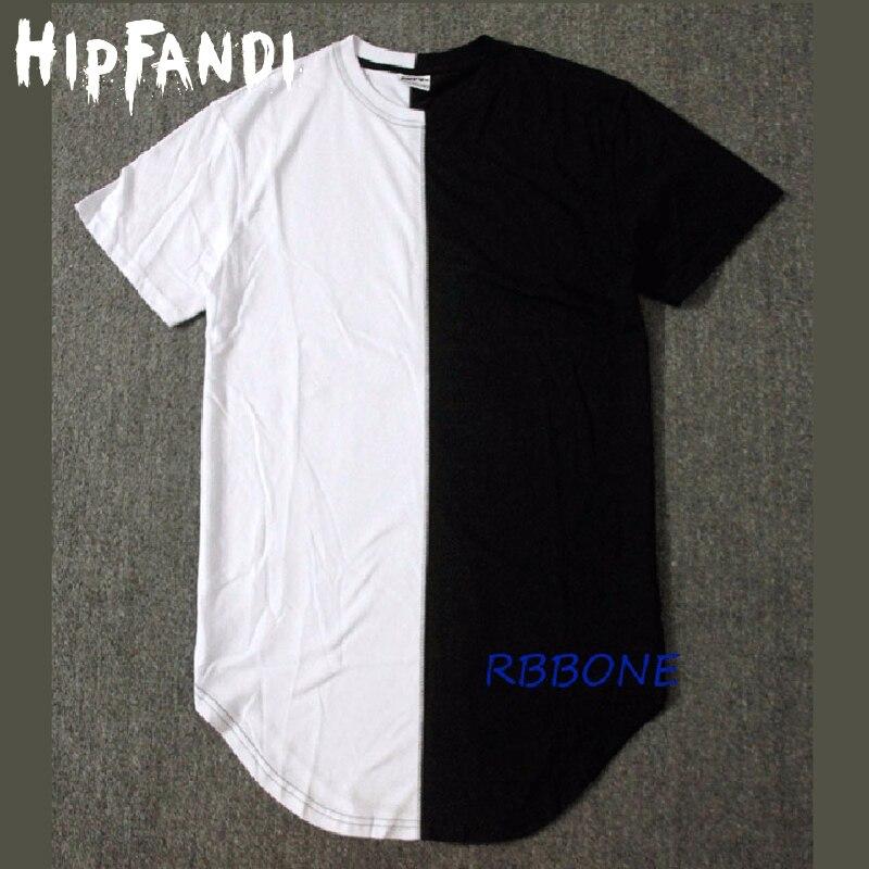 HIPFANDI Mitad negro nuevo diseñador blanco 2020 hombres verano vestido camiseta Hip Hop calle moda camiseta pantalón corto casual camiseta
