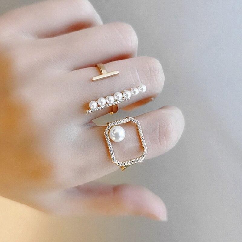 Uilz 2020 na moda zircônia anel aberto para meninas simulado pérola ajustável anéis moda casamento luxo jóias crl076