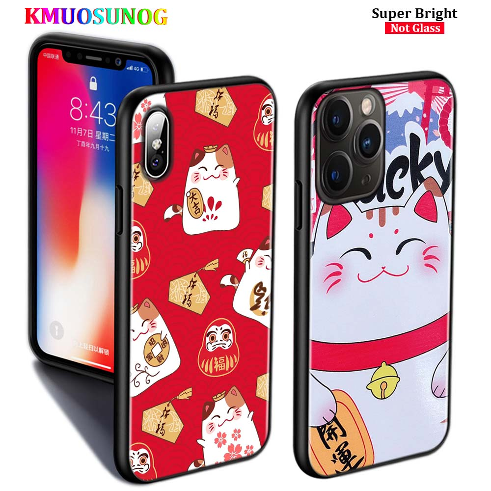 Negro funda de silicona Maneki Neko dinero suerte gato para iPhone 11 11Pro XS MAX XR 8X8 7 6S funda para teléfono con brillo 6 Plus 5S