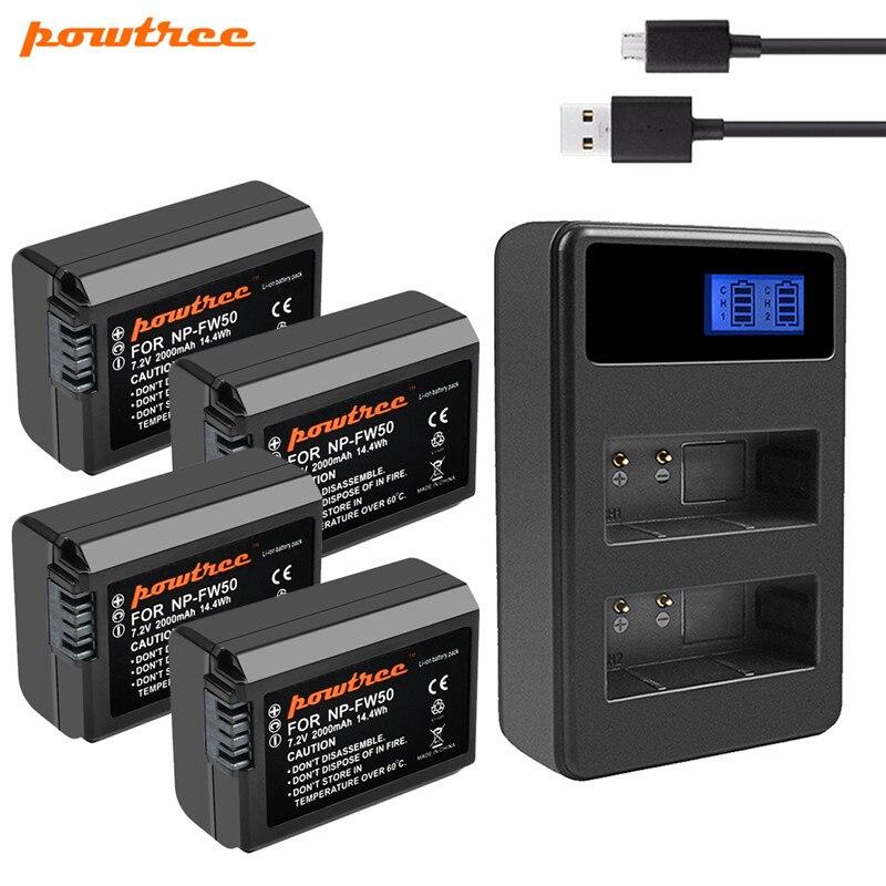 2000mah Powtree NP-FW50 NP FW50 Batterie AKKU + Dual USB Ladegerät Für Sony NEX-7 NEX-5N NEX-5R NEX-F3 NEX-3D Alpha a5000 ein