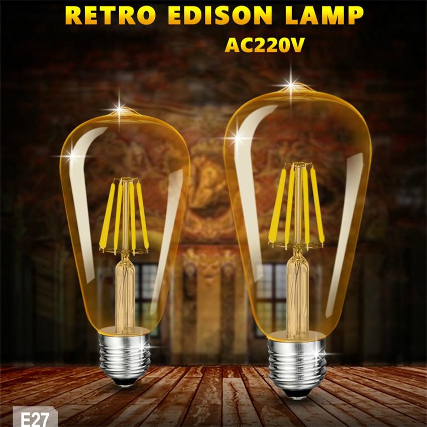 Free Shipping LED Edison Vintage Light Bulbs, 4W 6W 2200K , Dimmable LED Edison Bulb Antique LED Filament Bulbs, AMBER Glass,