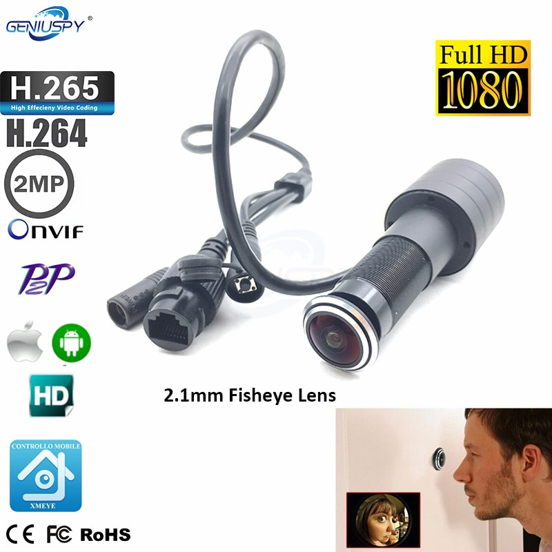 Door Viewer Eye Hole 1080P 2.1mm Wide Angle FishEye Lens Network Mini Peephole Door IP Camera P2P Onvif Network Power Cable