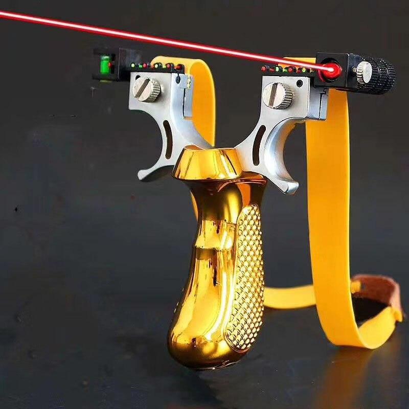 Tirachinas de caza con luz láser nivel de visión tiro al aire libre con banda de goma plana tirachinas potente