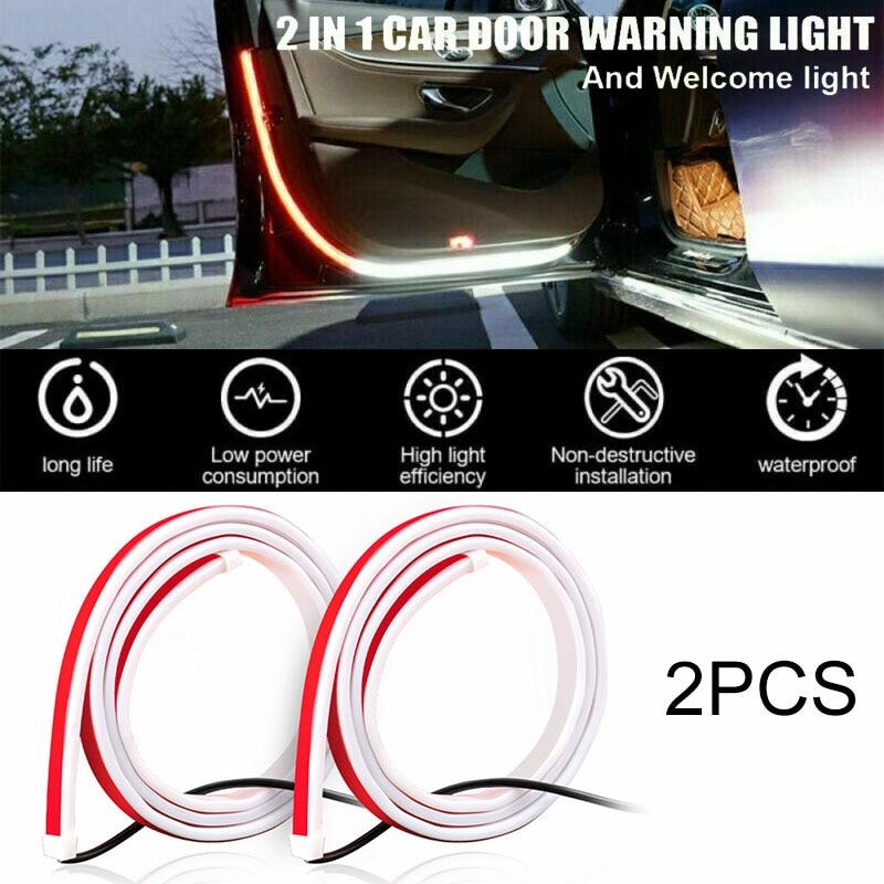 2 pçs vermelho branco porta do carro decoração tiras de luz estilo do carro estroboscópio piscando luz segurança 12v led aviso abertura led lâmpada tira