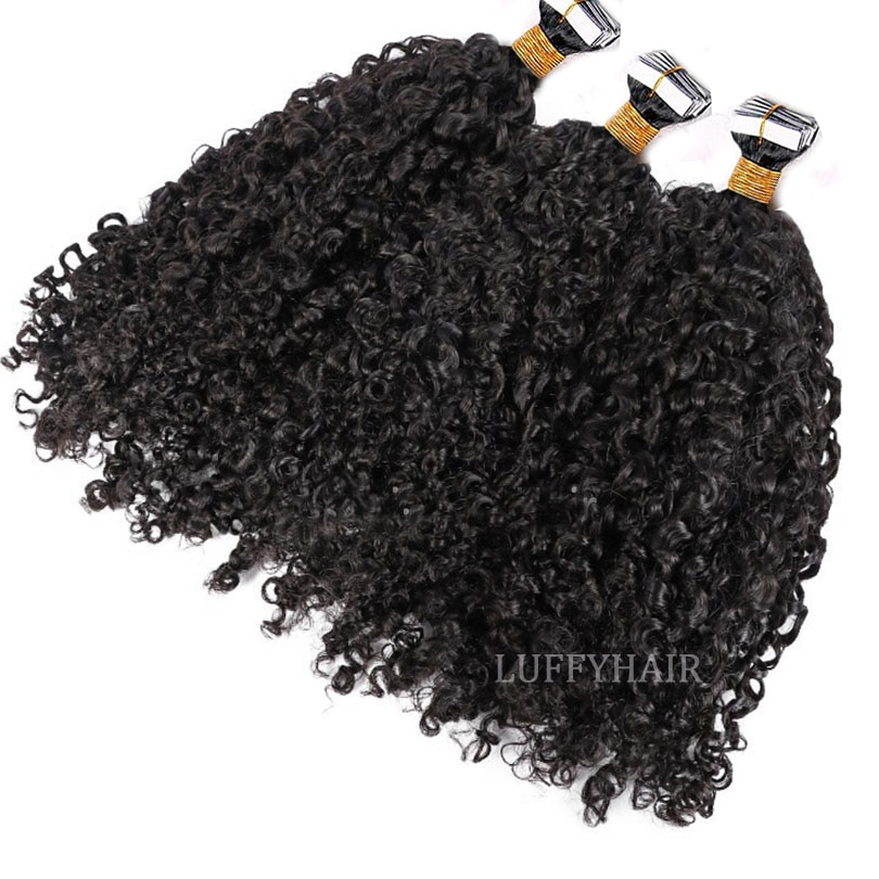 Sassy Curly Tape In Human Hair Extensions Brazilian Curly Skin Weft Adhesive Invisible Tape in Hair 40 Pieces