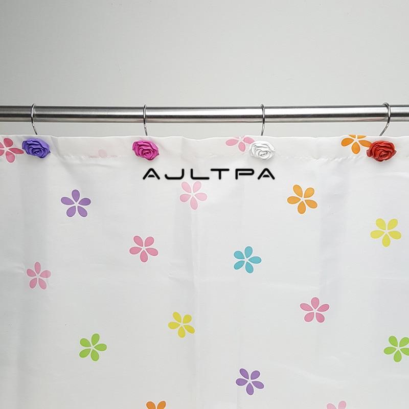 خطافات ستارة الدش من الراتنج ، 120 قطعة ، زهرة وردية ، خطافات زخرفية لغرفة الحمام H4818