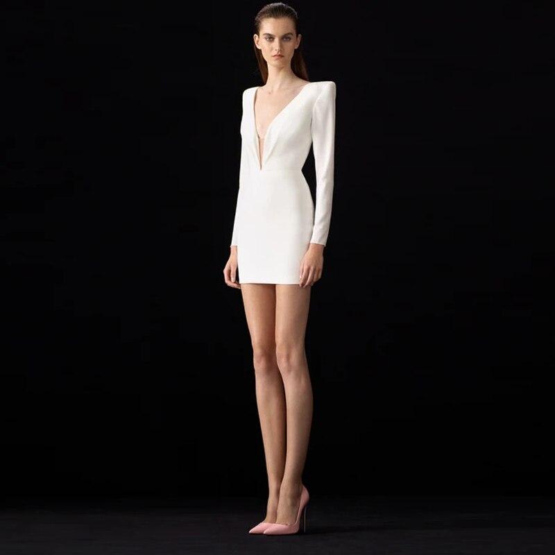 Vestido De otoño-Invierno Mini blanco con cremallera, Manga Larga