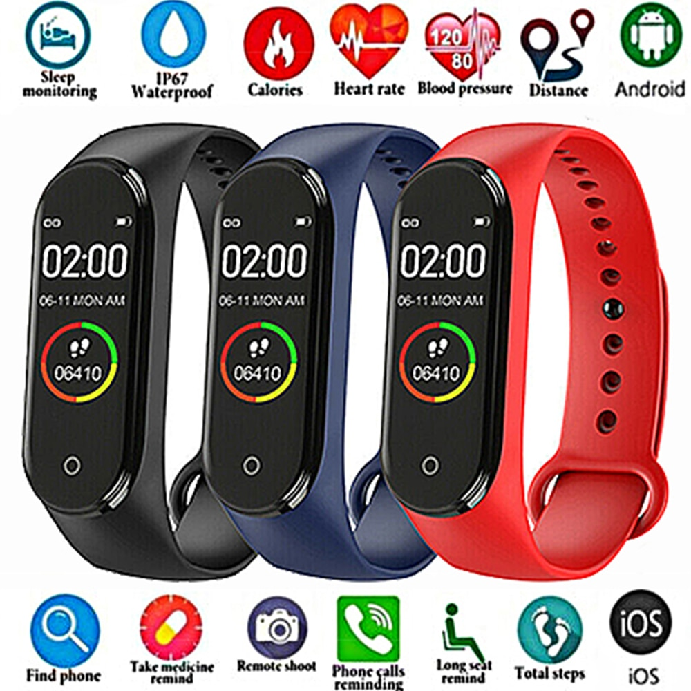 FXM 2020 Fashion m4 sport smart watch men and women fitness tracker heart rate blood pressure monitor bluetooth portable device