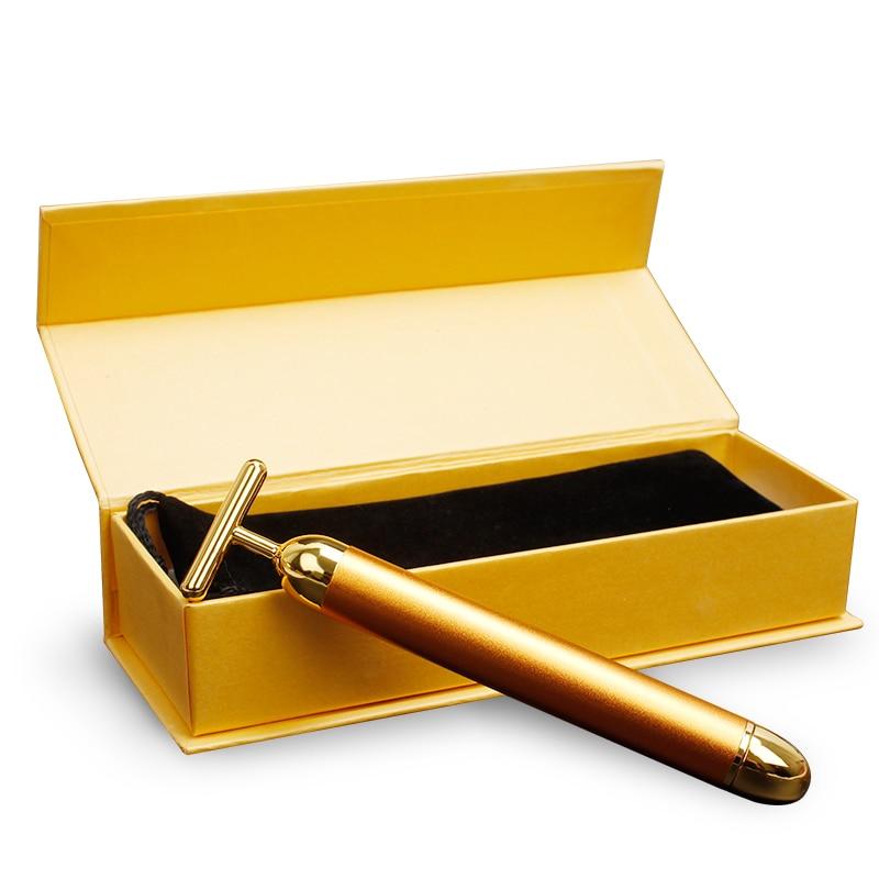 Энергетический 24K Gold T косметический ролик для лица, импульсный укрепляющий массажер, против старения лица, лечение морщин, палочка для похудения, разглаживающая морщины