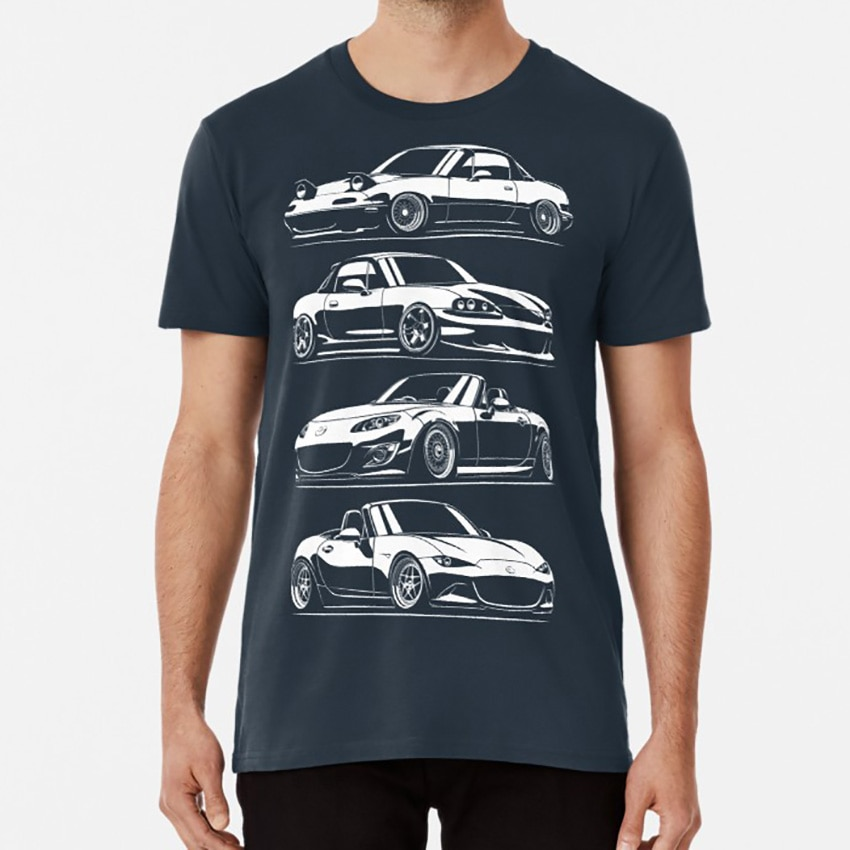 Las generaciones Camiseta Mx5 Miata para coches automotrices, coches deportivos japoneses Drift Legend, supercoches