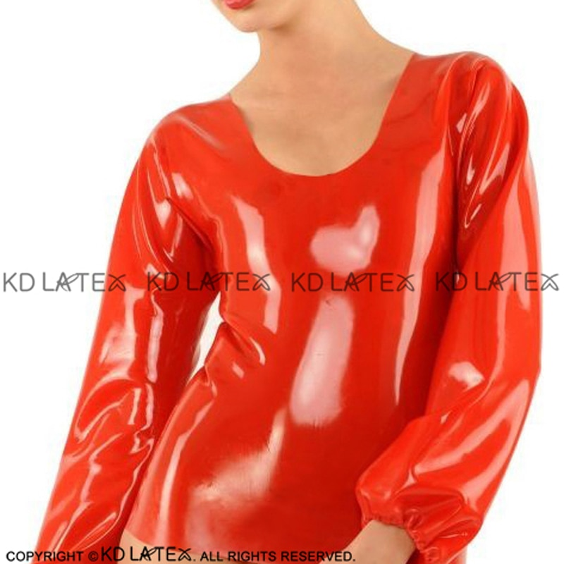 Red Sexy Long Sleeves With Elastic Ribbon On Cuffs Latex Blouse Rubber Shirt Top Clothes Clothing YF-0107