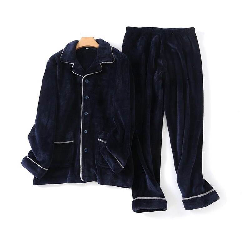 Men Pajamas 100% Flannel Home Wear Long-sleeved Trousers Pajama Suit Winter New Loose Warm Pajamas