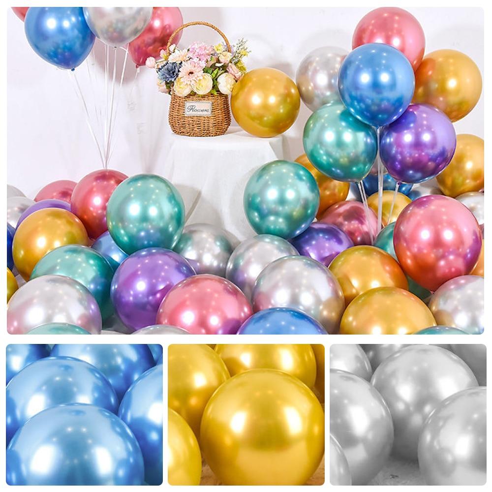 50 Uds. Dorados de látex globos de helio y negros de 10 pulgadas y 1,8g para bodas, cumpleaños, Baby Shower, adornos fiestas, juguetes para niños, globo de aire