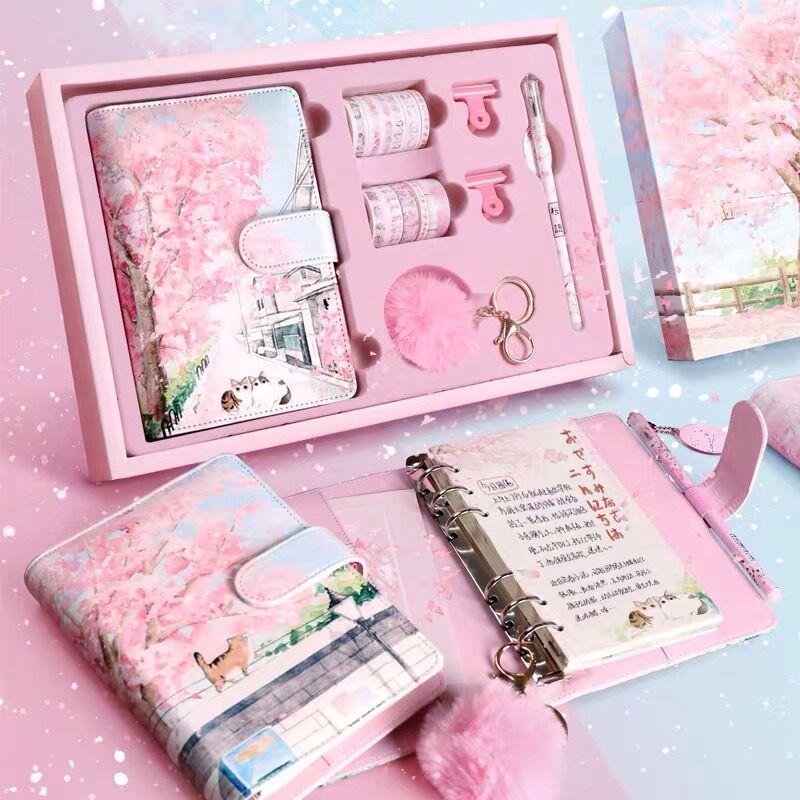 Sakura Hand Account Book Gift Box Set A6 Loose-leaf Notebook Journals Agenda Planner Gift Set Student Notebook Stationery notebook stone by stone a6 100 100
