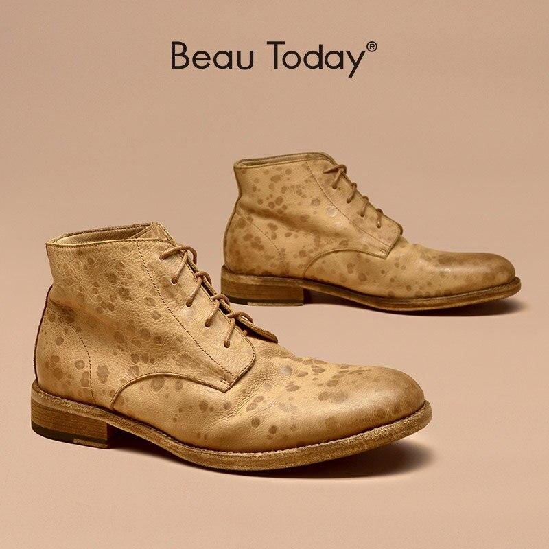 BeauToday-حذاء طويل من جلد البقر مع إغلاق برباط علوي ، حذاء برقبة دائرية ، مصنوع يدويًا ، للرجال ، 54107