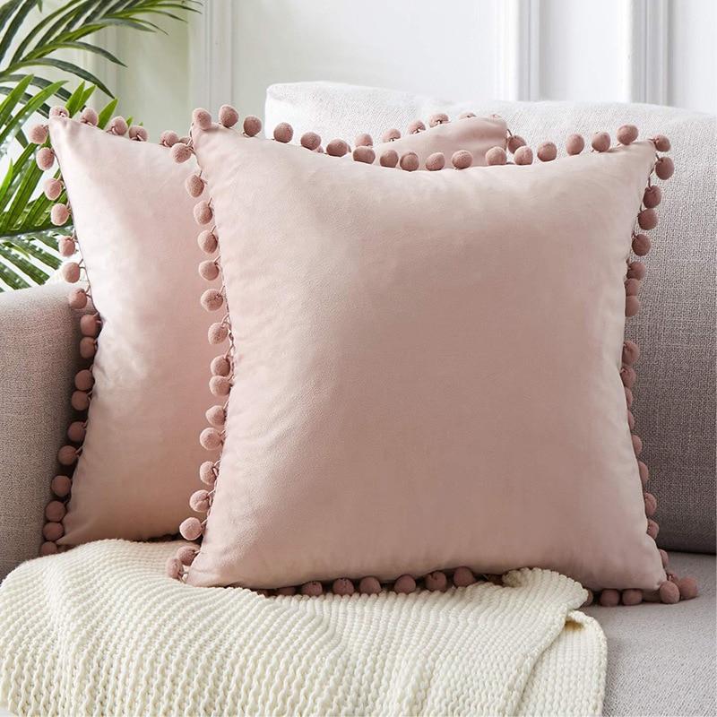 Мягкий Бархатный Чехол для подушки, декоративные подушки, искусственные однотонные цвета, Роскошный домашний декор, для гостиной, дивана, с...