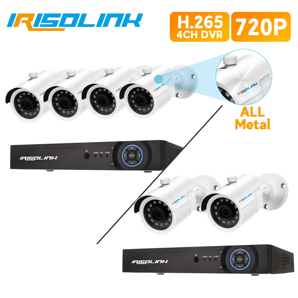 Irisolink CCTV كاميرا نظام 4CH 1080N DVR نظام مع 2/4 قطعة في الهواء الطلق 720P فيديو الأمن مراقبة كاميرا كيت