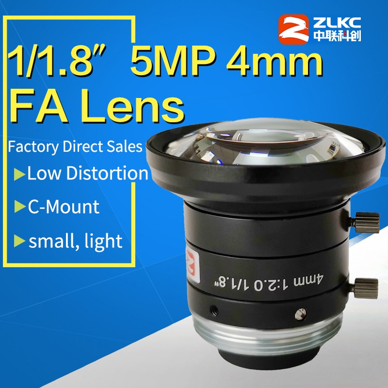 "C Mount 4mm manual aperture lens for 1/1.8"" FA High performance for 5 Mega pixel camera Machine Vision fixed focal length lenses"