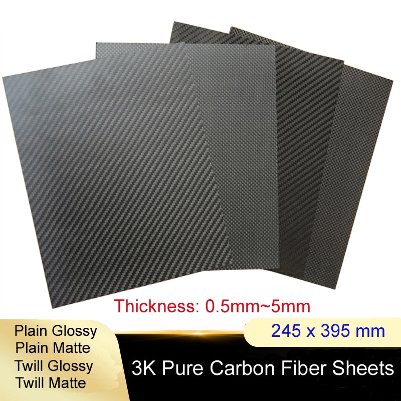 245x395mm Full 3K Carbon fiber Plate sheet High strength Carbon Board panel thickness 0.5mm 1.0mm 1.5mm 2mm 2.5mm 3mm 4mm 5mm