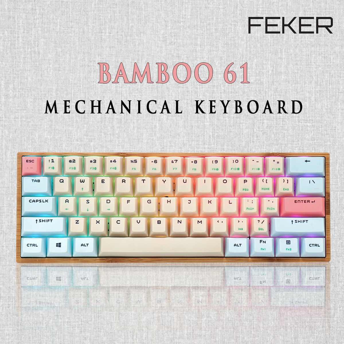 Feker bambu 61 teclado mecânico 60% ansi rgb caixa de madeira modo duplo pbt odmkeycap gateron switches para teclado mecânico