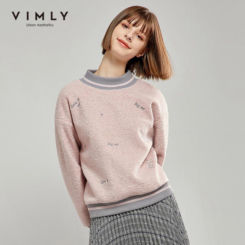 Vimly feminino hoodies vintage retalhos meia gola gola gola alta bordado solto casual tops feminino pulôver moletom 98910