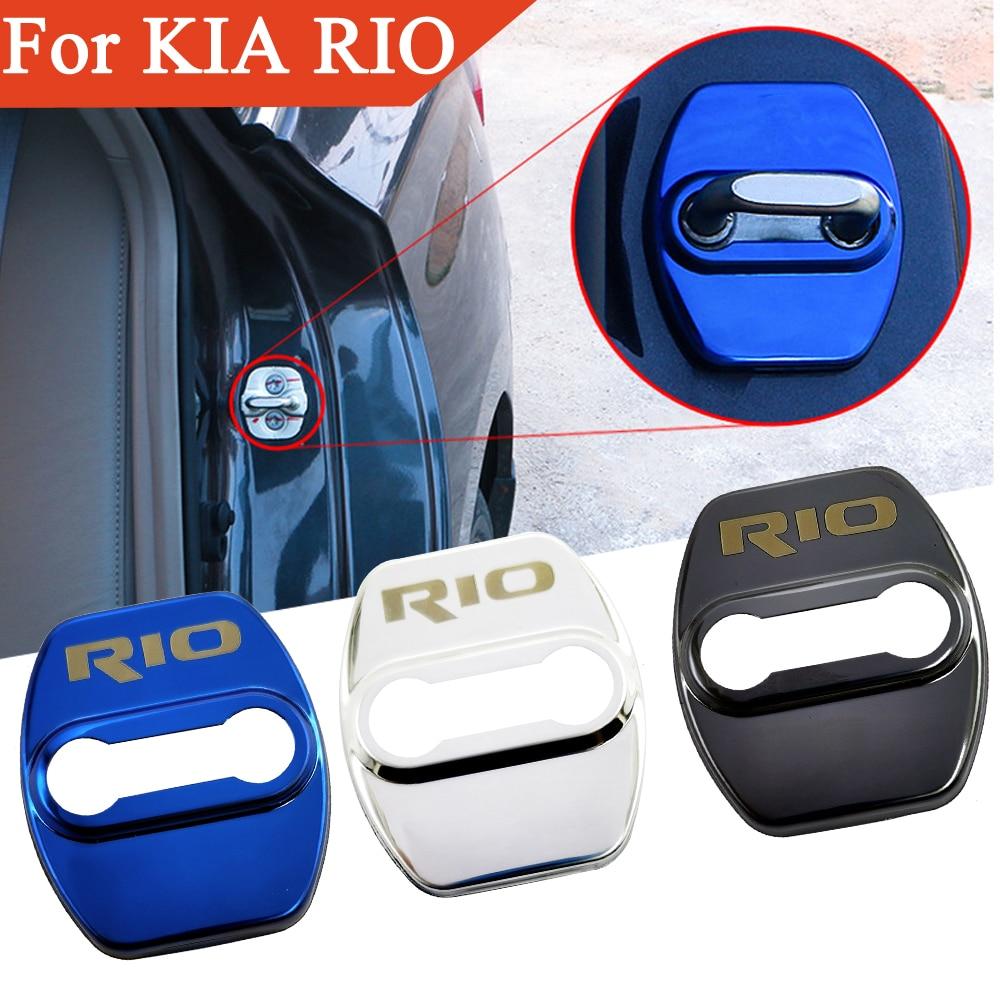FLYJ Car Door Lock cover Protect Buckle Latch Stop Anti Rust Car accessories interior For KIA RIO 2017-2020 Car sticker