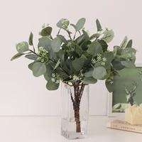 single eucalyptus silk green leaf artificial plant wedding decoration flower arrangement accessories for christmas home decor