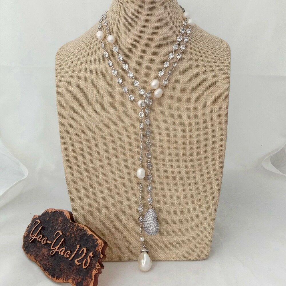 Collar largo con cadena de 49 pulgadas de perlas blancas Keshi Cz