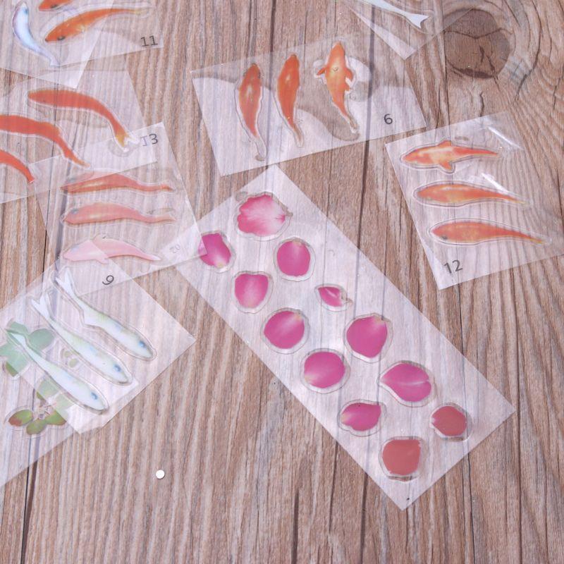 17Pcs Vivid Goldfish Clear Fish Flower Petal Leaves Film Sticker Resin Art Craft