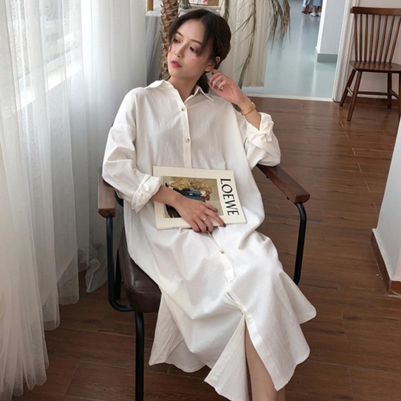 Lado fenda algodão longo blusas femininas simples sexy solto feminino camisas completas 2020 primavera topos turn-down collar casual conforto roupas