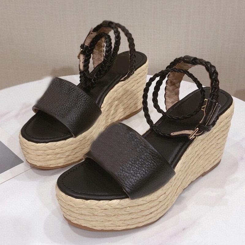 صيف جديد القنب عبر حزام سميكة أسفل الصنادل المرأة أسافين عالية الكعب أحذية منصة اللمحة تو الكاحل مشبك الإناث Sandalias