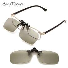 LongKeeper lenti fotocromatiche polarizzate Clip su occhiali da sole occhiali per conducente per auto occhiali da sole Anti-UV accessori per occhiali da guida