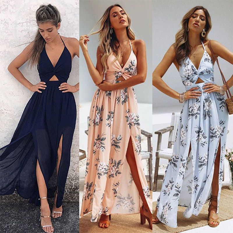 Vestido largo de verano para mujer, vestido bohemio playero con flores y cuello Halter de mujer para fiesta nocturna de verano