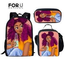 FORUDESIGNS enfants sacs décole pour filles Afro fille magique école sacs à dos 3D dessin animé impression cartable ensemble mochila Infantil