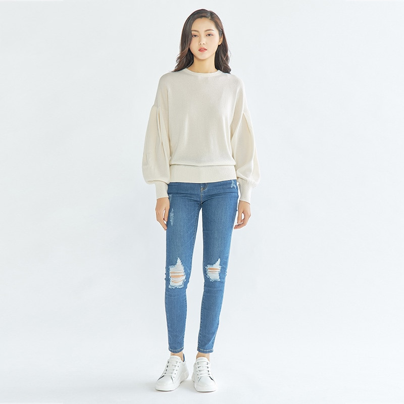 Tailor Shop Custom Made All Cashmere Round Neck Pure Cashmere Sweater Women's Puff Sleeve Pullover Sweater