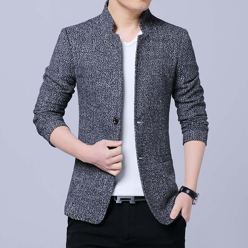 HOHO 2020 New Men's Casual Suit Youth Fashion Stand Collar Double Buckle Solid Color blazer