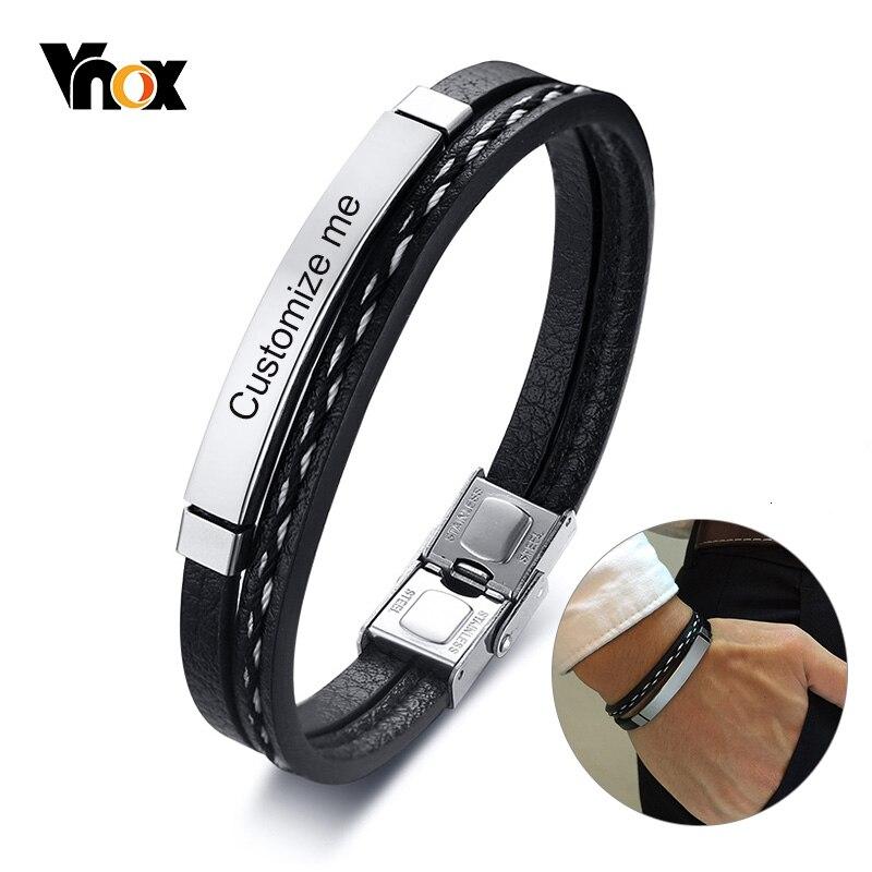 Vnox многослойные кожаные браслеты для мужчин и женщин настраиваемый гравировальный Повседневный персонализированный браслет из нержавеющей стали