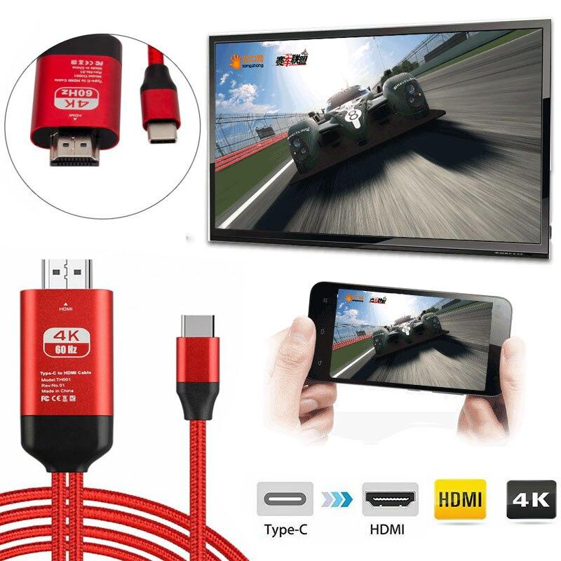 6.6FT usb tipo c with usb-c a hdmi adaptador de cable macho de 4K 60Hz USB a HDMI 2,0 adaptador de convertidor de cable de aluminio con carcasa de aleación