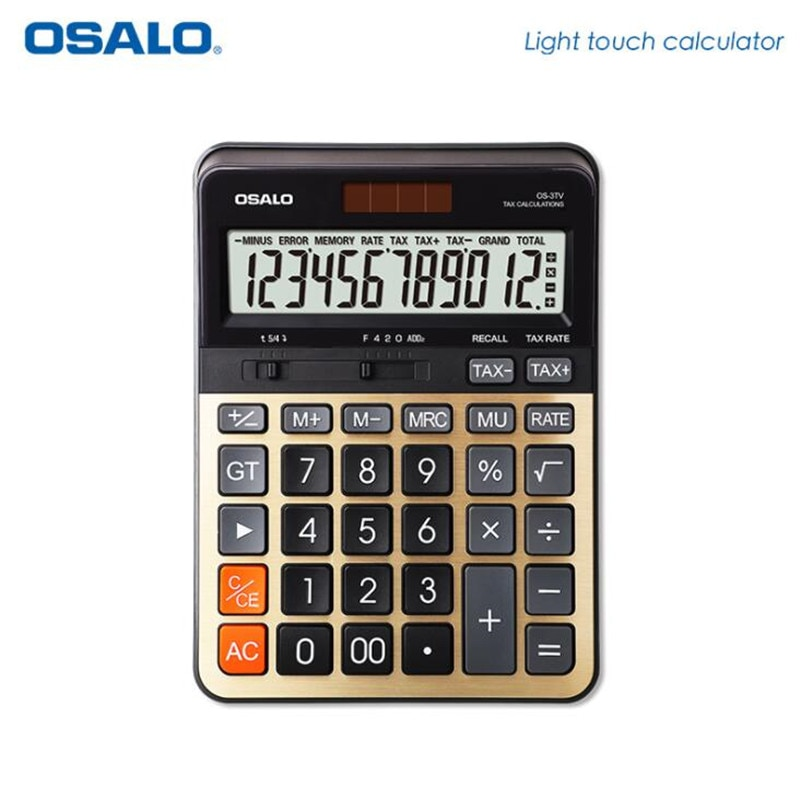 NEW 3TV High quality desktop calculator tax rate 12 display dual power solar cell calculators