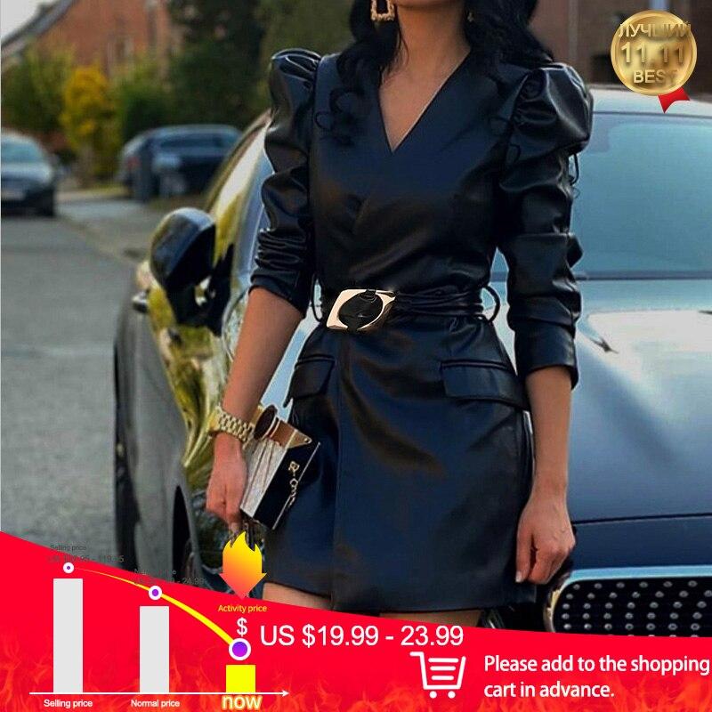 Vestido feminino preto com decote em v plutônio bandage falso jaqueta de couro-vestidos com cinto feminino outono inverno streetwear senhoras mini vestido