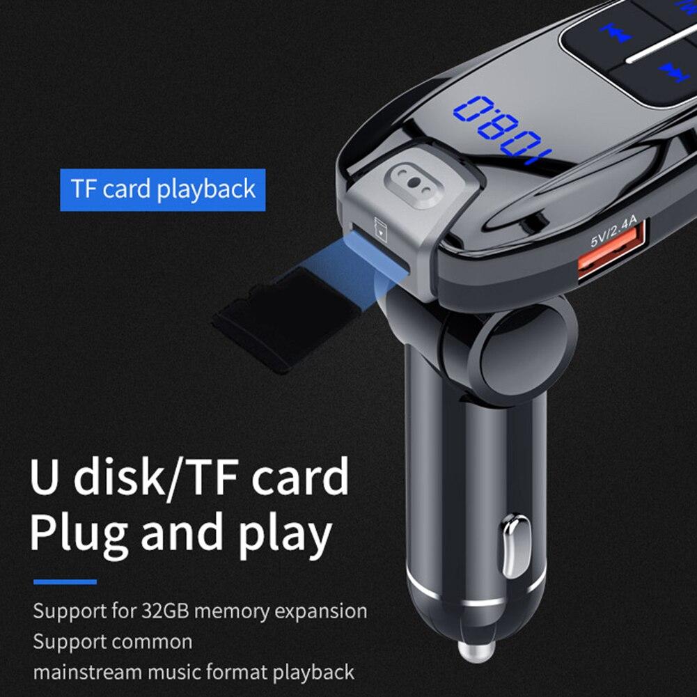 BC59 FM Transmisor Bluetooth 5,0 Kit de manos libres para coche, reproductor de MP3 y disco TF U, 18W tipo C PD QC 3,0 USB, Cargador rápido